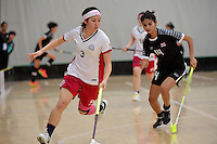Japan&rsquo;s Yui Goto in action during the World Floorball Championships 2017 Qualification for Asia Oceania Region - Japan v Thailand at ASB Sports Centre , Wellington, New Zealand on Saturday 4 February 2017.<br /> Photo by Masanori Udagawa<br /> www.photowellington.photoshelter.com.