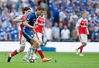 Marcos Alonso of Chelsea holds off Hector Bellerin of Arsenal during the FA Cup Final match between Arsenal v Chelsea, Wembley stadium, London on 27th May 2017