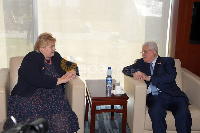 Palestinian President Mahmoud Abbas meets with the Prime Minister of Norway, in Addis Ababa, Ethiopia, on February 10, 2019. Photo by Thaer Ganaim