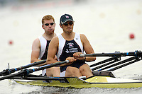 Poznan, POLAND.  2006, FISA, Rowing, World Cup, GBR M2X, bow, Matt WELLS and Stephen ROWBOTHAM, move  away from  the  start, on the Malta  Lake. Regatta Course, Poznan, Thurs. 15.05.2006. © Peter Spurrier   .[Mandatory Credit Peter Spurrier/ Intersport Images] Rowing Course:Malta Rowing Course, Poznan, POLAND
