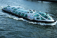 """The boat Himiko was designed by Reiji Matsumoto one of the most renowned Japanese cartoonists who designed this ship in the image of a """"teardrop"""". With its streamlined body with bubble windows, Himiko is designed for optimum viewing of the scenes along the Sumida River on its journey to Odaiba."""