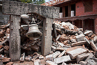 A bell and destroyed structures of Goroknath Temple in Kathmandu, Nepal