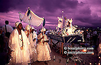 Rio de Janeiro, Brazil. Afro-Brazilian religious ritual. Iemanjá celebration. New Year party at Copacabana beach.