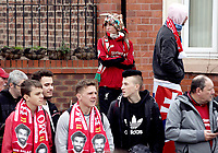 Fans gather to cheer the Liverpool team bus as it arrives at Anfield ahead of kick-off<br /> <br /> Photographer Rich Linley/CameraSport<br /> <br /> The Premier League - Liverpool v Manchester City - Sunday 7th October 2018 - Anfield - Liverpool<br /> <br /> World Copyright &copy; 2018 CameraSport. All rights reserved. 43 Linden Ave. Countesthorpe. Leicester. England. LE8 5PG - Tel: +44 (0) 116 277 4147 - admin@camerasport.com - www.camerasport.com
