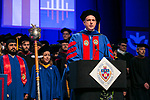 Johnathan Gemmel, assistant professor, serves as one of the university marshals Sunday, June 11, 2017, during the DePaul University College of Computing and Digital Media and the College of Communication commencement ceremony at the Allstate Arena in Rosemont, IL. (DePaul University/Jamie Moncrief)