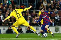 27th November 2019; Camp Nou, Barcelona, Catalonia, Spain; UEFA Champions League Football, Barcelona versus Borussia Dortmund;  Leo Messi takes on Hummels of Dortmund - Editorial Use
