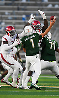 NWA Democrat-Gazette/CHARLIE KAIJO Arkansas Razorbacks defenders block a pass by Colorado State Rams quarterback K.J. Carta-Samuels (1) during the second quarter of a football game, Saturday, September 8, 2018 at Colorado State University in Fort Collins, Colo.