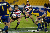 Romi Ropati weighs his options as the Otago defenders converge. Air New Zealand Cup rugby game played at Mt Smart Stadium, Auckland, between Counties Manukau Steelers & Otago on Thursday August 21st 2008..Otago won 22 - 8 after leading 12 - 8 at halftime.