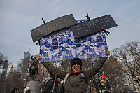 NEW YORK, NY - MARCH 8: A Women holds a banner during a rally to mark International Women's Day at Union Square on March 08, 2019. ((Photo by Maite H. Mateo/VIEWpress)