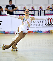 CALI - COLOMBIA - 19 - 09 - 2015: Cecilia Liendo, deportista de Argentina, durante la prueba de Solo Danza Obligatorias Mayores Damas, en el LX Campeonato Mundial de Patinaje Artistico, en el Velodromo Alcides Nieto Patiño de la ciudad de Cali. / Cecilia Liendo, sportwoman of Argentina, during the Compulsory Solo Dance Senior Ladies   test, in the LX World Championships  Figure Skating, at the Alcides Nieto Patiño Velodrome in Cali City. Photo: VizzorImage / Luis Ramirez / Staff.