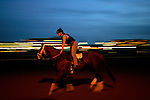A jockey and horse walk along the track during a morning workout at Churchill Downs in Louisville, Kentucky on May 5, 2006...