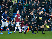 30th November 2019; Turf Moor, Burnley, Lanchashire, England; English Premier League Football, Burnley versus Crystal Palace; Referee Geoff Eltringham leads out the two teams - Strictly Editorial Use Only. No use with unauthorized audio, video, data, fixture lists, club/league logos or 'live' services. Online in-match use limited to 120 images, no video emulation. No use in betting, games or single club/league/player publications