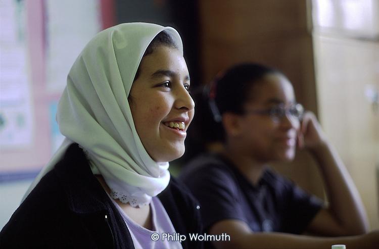 Year 8 English class at Parliament Hill School for Girls (Camden LEA), London.
