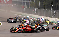 27th October 2019, Autodromo HermanRodriguez, Mexico City, Mexico; F1 Grand Prix of Mexico, Race Day; Start of the race as Sebastian Vette Ferrari Mission Winnow followed by 33 Max Verstappen NLD, Aston Martin Red Bull Racing and 44 Lewis Hamilton GBR, Mercedes AMG Petronas Motorsport