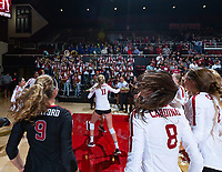 Stanford, California - September 28, 2018: Stanford Women's Volleyball defeats USC 3-0 at Maples Pavilion in Stanford, California.