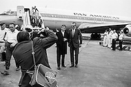 26 Jul 1970, Queens, New York City, New York State, USA --- French politician and journalist Jean-Jacques Servan-Schreiber (L) and politician Lionel Jospin stand to have their photo taken upon arriving in New York. Servan-Schreiber is giving a press conference at the John F. Kennedy International Airport. --- Image by © JP Laffont