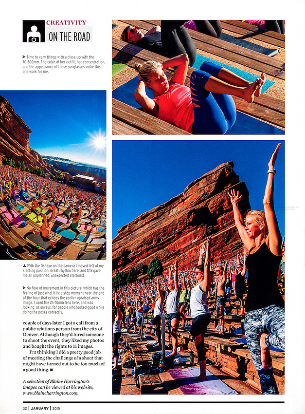 Yoga on the Rocks (2,000 people doing yoga together) at Red Rocks Amphitheater, Morrison, Colorado USA.
