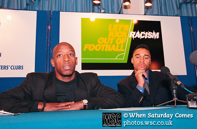 Ian Wright and Paul Elliot. Let's kick football out of racism campaign c1996. (Exact date tbc). Photo by Tony Davis
