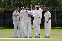 Finchley celebrate their 2nd wicket during Finchley CC vs Brondesbury CC (batting), ECB National Club Championship Cricket at Arden Field on 12th May 2019