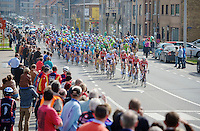peloton riding through Diksmuide<br /> <br /> Gent-Wevelgem 2014