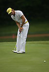 7 September 2008:    Camilo Villegas of Medellin, Colombia, South America misses a putt on the ninth hole in the delayed third round of play at the BMW Golf Championship at Bellerive Country Club in Town & Country, Missouri, a suburb of St. Louis, Missouri on Sunday September 7, 2008. He and 23 other golfers had to finish their third round of competition Sunday morning before the fourth and final round could be played due to the suspension of third round play because of darkness on Saturday Sept. 6.  The BMW Championship is the third event of the PGA's  Fed Ex Cup Tour.