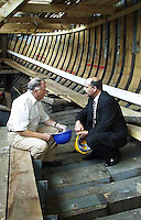 PUP leader David Irvine chats with master boat builder Michael O'Boyle on his visit to the Jeannie Johnston Boat project in Tralee ..Picture by Don MacMonagle