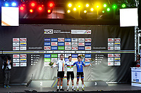 Picture by Richard Blaxall/SWpix.com - 27/09/2018 - Cycling 2018 Road Cycling World Championships Innsbruck-Tiriol, Austria - Men's Junior Race - Remco Evenepoel of Belgium celebrates winning Gold with Marius Mayrhofer of Germany winning Silver and Alessandro Fancellu of Italy winning Bronze