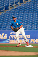Clearwater Threshers first baseman Darick Hall (21) gets in position during a game against the Fort Myers Miracle on May 31, 2018 at Spectrum Field in Clearwater, Florida.  Clearwater defeated Fort Myers 5-1.  (Mike Janes/Four Seam Images)