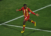Asamoah Gyan of Ghana celebrates his goal. Ghana defeated the USA 2-1 in overtime in the 2010 FIFA World Cup at Royal Bafokeng Stadium in Rustenburg, South Africa on June 26, 2010.