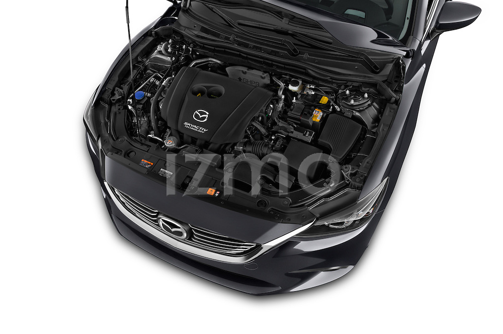 Car stock 2016 Mazda 6 i Grand Touring Auto 4 Door Sedan engine high angle detail view