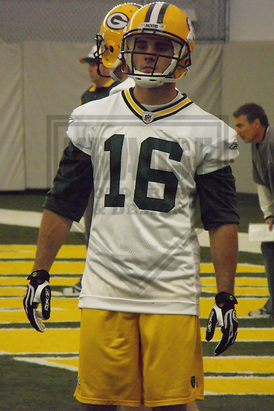 GREEN BAY - April 2008: Brett Swain (16) of the Green Bay Packers during a practice at the Don Hutson Center in April, 2008 in Green Bay, Wisconsin. (Photo by Brad Krause)