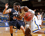 BROOKINGS, SD - OCTOBER 29:  Tevin King #2 from South Dakota State drives against Philip Schanilec #3 from South Dakota School of Mines in the first half of their exhibition game Thursday night at Frost Arena in Brookings. (Photo by Dave Eggen/Inertia)