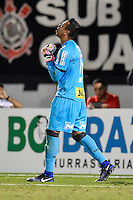 Orlando, FL - Saturday Jan. 21, 2017: São Paulo goalkeeper Sidão (12) reacts after making a save during penalty shootout of the Florida Cup Championship match between São Paulo and Corinthians at Bright House Networks Stadium. The game ended 0-0 in regulation with São Paulo defeating Corinthians 4-3 on penalty kicks.