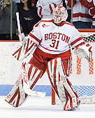 Kieran Millan (BU - 31) made 36 saves on 37 shots in the game. - The Boston University Terriers defeated the visiting Providence College Friars 6-1 on Friday, January 20, 2012, at Agganis Arena in Boston, Massachusetts.