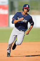 Christian Bethancourt #19 of the Rome Braves hustles towards third base against the Kannapolis Intimidators at Fieldcrest Cannon Stadium April 11, 2010, in Kannapolis, North Carolina.  Photo by Brian Westerholt / Four Seam Images