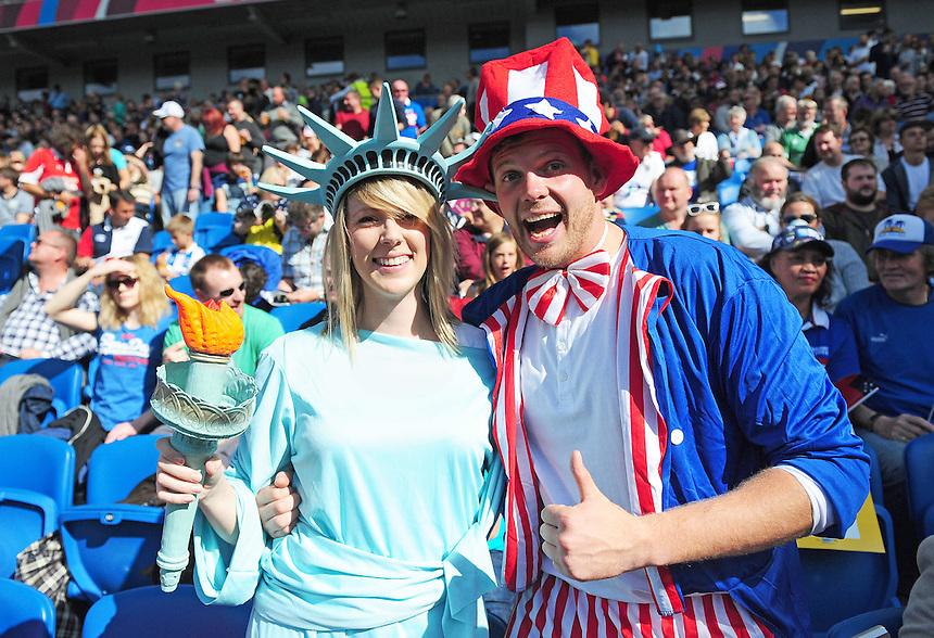 USA fans before todays match<br /> <br /> Photographer Kevin Barnes/CameraSport<br /> <br /> Rugby Union - 2015 Rugby World Cup - Samoa v USA - Sunday 20th September 2015 - Brighton Community Stadium - Falmer - Brighton<br /> <br /> &copy; CameraSport - 43 Linden Ave. Countesthorpe. Leicester. England. LE8 5PG - Tel: +44 (0) 116 277 4147 - admin@camerasport.com - www.camerasport.com