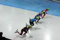 SCHAATSEN: DORDRECHT: Sportboulevard, Korean Air ISU World Cup Finale, 12-02-2012, Start Final A 1000m (2) Ladies, Marie-Eve Drolet CAN (104), Katerina Novotna CZE (114), Lana Gehring USA (164), Jianrou Li CHN (110), ©foto: Martin de Jong