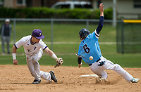 NWA Democrat-Gazette/BEN GOFF @NWABENGOFF<br /> Charlie Acuff (6), Springdale Har-Ber first baseman, steals second as Beau Stuckey, Fayetteville shortstop, misses a pickoff throw in the 3rd inning Friday, May 10, 2019, during the class 6A state baseball tournament at Veterans Park in Rogers.