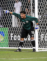 New York Red Bulls goalkeeper Jon Conway (18) directs his teammates to make a wall during a free kick, DC United tied The New York Red Bulls 0-0, at RFK Stadium in Washington DC, Saturday August 30, 2008.