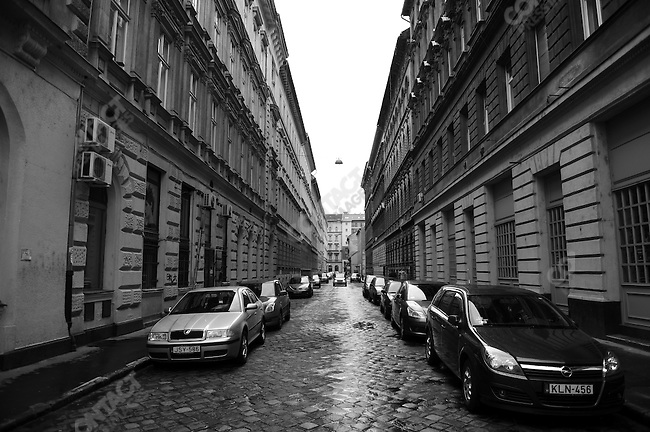 Cars lined a street off Andrassy Road in the early morning in Budapest, Hungary, March 24, 2008