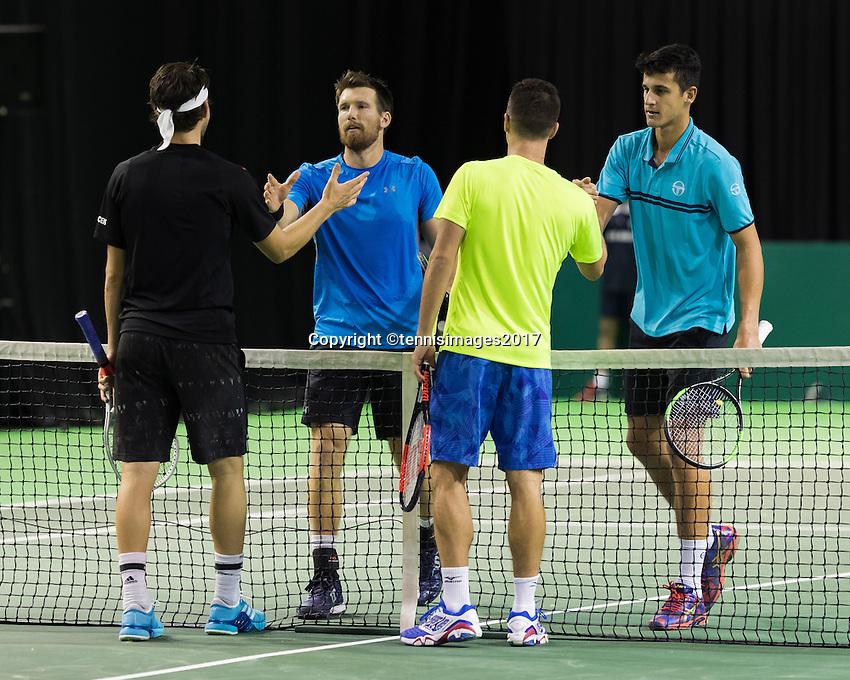 ABN AMRO World Tennis Tournament, Rotterdam, The Netherlands, 14 februari, 2017, Philipp Kohlschreiber (GER), Dominic Thiem (AUT), Mate Pavic (CRO), Alexander Peya (AUT)<br /> Photo: Henk Koster