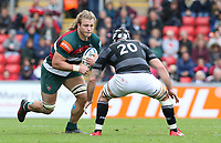 Leicester Tigers' David Denton faced by Newcastle Falcons' Gary Graham <br /> <br /> Photographer Stephen White/CameraSport<br /> <br /> Gallagher Premiership Round 2 - Leicester Tigers v Newcastle Falcons - Saturday September 8th 2018 - Welford Road - Leicester<br /> <br /> World Copyright &copy; 2018 CameraSport. All rights reserved. 43 Linden Ave. Countesthorpe. Leicester. England. LE8 5PG - Tel: +44 (0) 116 277 4147 - admin@camerasport.com - www.camerasport.com