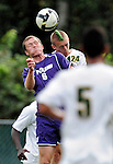 11 September 2009: University of Portland Pilots' midfielder Ben Hemphill, a Freshman from White Rock, B.C. (left), battles University of Vermont Catamount backfielder Drew Smalley, a Sophomore from Beaverton, OR, in the first round of the 2009 Morgan Stanley Smith Barney Soccer Classic held at Centennial Field in Burlington, Vermont. The Catamounts and Pilots battled to a 1-1 double-overtime tie. Mandatory Photo Credit: Ed Wolfstein Photo