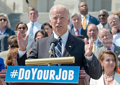 United States Vice President Joe Biden makes remarks as he joins Democratic members of the US House of Representatives and US Senate assembling on the East Steps of the US Capitol to call on Republican leadership in both legislative bodies to schedule votes on funding to combat the Zika Virus, to prohibit people on the federal &quot;no fly&quot; list from purchasing guns, and to conduct confirmation hearings and schedule a vote on the confirmation of Judge Merrick Garland as Associate Justice of the US Supreme Court in Washington, DC on Thursday, September 8, 2016.<br /> Credit: Ron Sachs / CNP