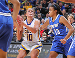 SIOUX FALLS, SD - MARCH 5:  Kerri Young #10 of South Dakota State looks for a shot against defender De'Jour Young #13 of Fort Wayne in the 2016 Summit League Tournament. (Photo by Dick Carlson/Inertia)