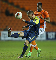Stevenage's Luke Wilkinson clears his lines under pressure from Blackpool's Jamille Matt<br /> <br /> Photographer Alex Dodd/CameraSport<br /> <br /> The EFL Sky Bet League Two - Blackpool v Stevenage - Tuesday 14th March 2017 - Bloomfield Road - Blackpool<br /> <br /> World Copyright &copy; 2017 CameraSport. All rights reserved. 43 Linden Ave. Countesthorpe. Leicester. England. LE8 5PG - Tel: +44 (0) 116 277 4147 - admin@camerasport.com - www.camerasport.com