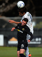Albert Riera (Auckland) beats Joel Stevens to the ball during the Oceania Football Championship final (second leg) football match between Team Wellington and Auckland City FC at David Farrington Park in Wellington, New Zealand on Sunday, 7 May 2017. Photo: Dave Lintott / lintottphoto.co.nz