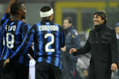 15 01 2011   Series A Inter Milan versus Bologna.   Photo Samuel Eto o  and coach Leonardo