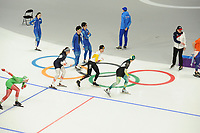OLYMPIC GAMES: PYEONGCHANG: 09-02-2018, Gangneung Oval, Training session, Vanessa Herzog (AUT), Mathias Vosté (BEL), ©photo Martin de Jong