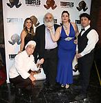 "Lindsay Lavin, Eddie Varley, John Guild, Cassie Nadeau and Steve Tardio during the Epress preview for ""Truffles: Music! Mushroom Murder!!!"" at Secret Room on November 15, 2019 in New York City."